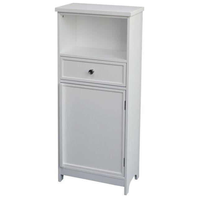 1 Drawer White Wooden Bathroom Cabinet Storage Cupboard Shelf Free Standing