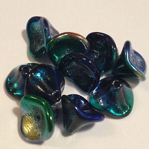 10 Czech 12mm 3 Petal Bell Flower Beads BLUE PEACOCK glass