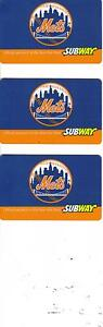 SUBWAY-New-York-Mets-Gift-Card-Never-Used-3-of-them-No-Value
