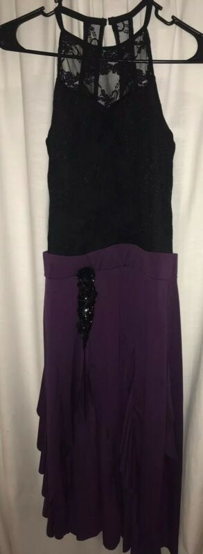 Weissman Dance Costume Black Bodice Purple Skirt One Piece Spandex