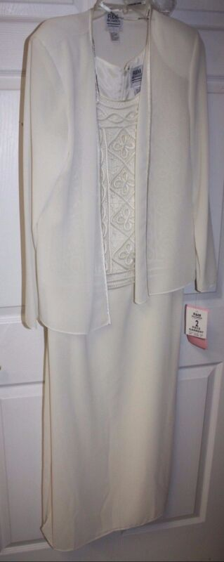 Womens Ladies R&M Richards Cream 2 Piece Lace Top Long Dress Jacket Size 10