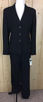 Evan Picone 2 Pc. Pant Suit Womens Sz 16 Jacket Pants Black Fitted Blazer New