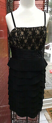 Jessica Howard Black Lace Frill ruffle Corsage Layered Tiered Dress UK12 NEW TAG