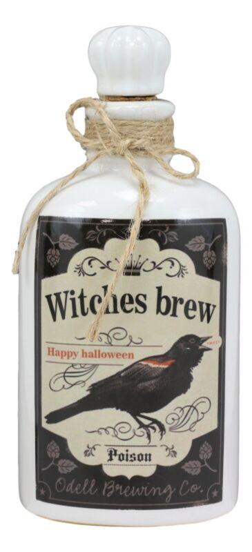 Ceramic Mad Doctor Scientist Halloween Witches Brew Raven Poison Prop Bottle