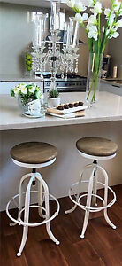 NEW VINTAGE STYLE BLACK & WHITE SWIVEL BAR STOOL OAK WITH/WITHOUT BACK Casuarina Kwinana Area Preview