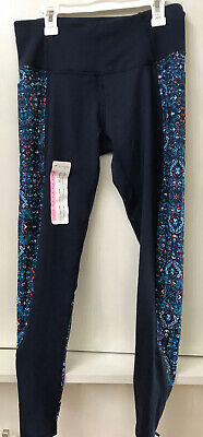 Z by Zobha Womens Leggings Pants High Waist Dark Iris Blue Zip Hem Size S