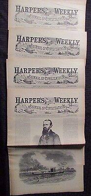 1861/62 Harper's Weekly Journal Newspaper Reissue LOT of 4 FN- 3/15 3/22 3/29 10