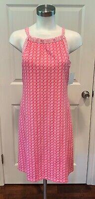 "J. McLaughlin Pink & White Geometric Print ""Ellin"" Halter Dress, Size XS, NWT"