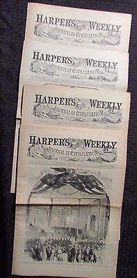 1861/62 Harper's Weekly Journal Newspaper Reissue LOT of 4 FN- 2/9 7/6 9/28 1/4