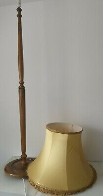 Tall Wooden Vintage Floor Lamp and Shade English