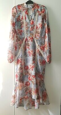Hope And Ivy Dress Floral Size 10 Keyhole Midi Pale Blue Summer
