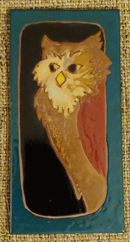 Wise Old Brown Owl Green Border Art Tile Elaine Cain Signed 8X4