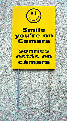 Smile Youre On Camera Sign 8x12 W Stake Security Surveillance Spanish