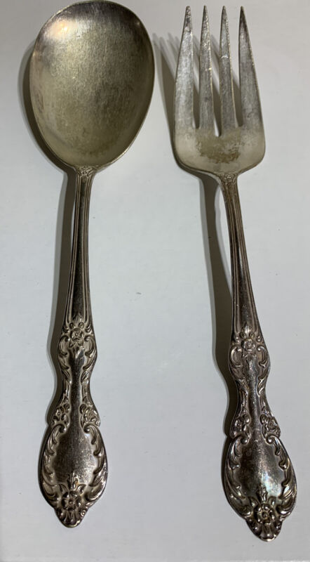 """VIntage Wm. Rogers Extra Plate Valley Rose Pattern 9"""" Serving Fork & Spoon"""