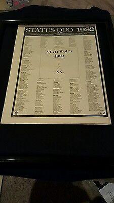 Status Quo 1982 XX Dear John Rare Original U.K. Promo Poster Ad Framed!