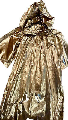 Vintage Gold Lamé Mage Witch Cloak Ceremonial Costume Halloween Pagan Ritual Vtg
