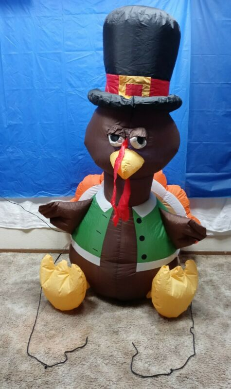 GEMMY 4FT.TURKEY LED LIGHTED THANKSGIVING AIRBLOWN INFLATABLE TURKEY