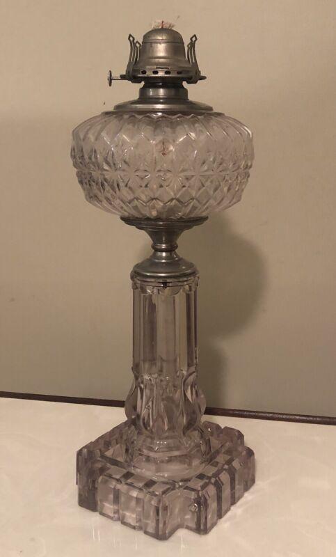 """Large Antique Clear Glass Kerosene Oil Lamp, Brass Burner, 18"""" Tall"""