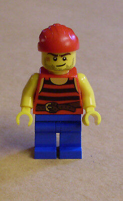 Lego Figur - Pirate 3 (schwarz-rot gestreift, Narbe, - Piraten Narben