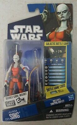 NEW STAR WARS CLONE WARS 2010 AURRA SING CW11 BOUNTY HUNTER SNIPER ACTION FIGURE
