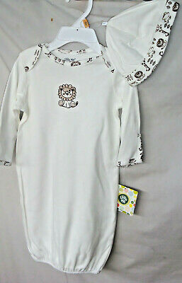 LITTLE ME 100% Cotton Ivory SAFARI GOWN w/Hat SIZE 0/3 MO  NWT