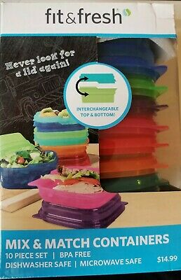 FIT & FRESH MIX & MATCH 10 PIECE FOOD CONTAINERS COLORS BPA FREE