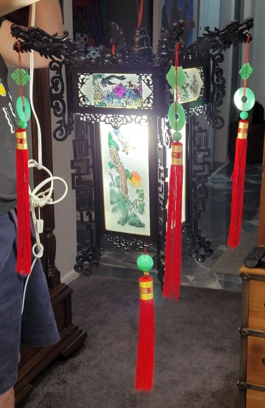 """Vintage FULL SIZE Chinese Hanging Palace Lantern HAND PAINT GLASS 18"""" W X 28"""" H"""