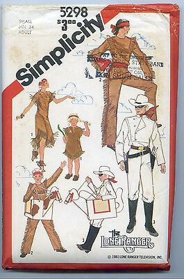 HALLOWEEN COSTUME SIMPLICITY 5298 ADULT SM SZ 34 LONE RANGER TONTO SILVER SCOUT