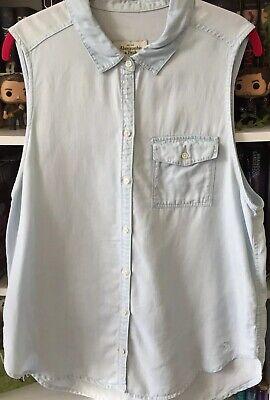 ABERCROMBIE & FITCH Sleeveless Pocket Blouse Denim Jean Top Button Down Shirt L