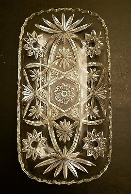 Vintage Elegant Cut Glass Serving Platter Tray Stars Oval Vectors Flowers 12X6
