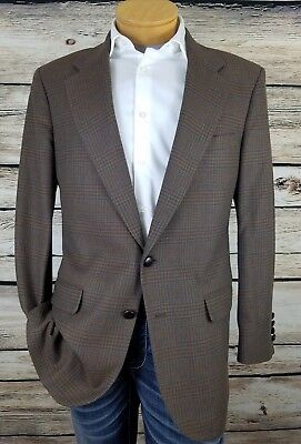 Stanley Blacker Brown Multi Tweed 2 Button Sport Coat Blazer Glen Plaid Mens 40R