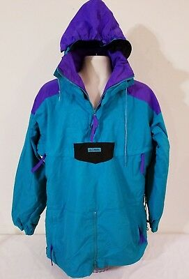 COLUMBIA Ski Snowboard Jacket Mens L Pullover Hideaway Hood Radial COLORBLOCK
