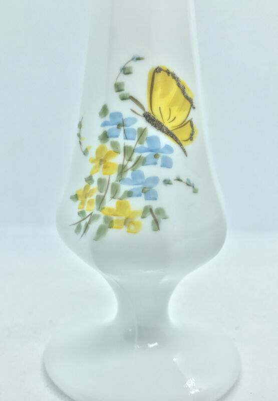 """VTG Fenton Vase Milk Glass 7.5"""" Yellow Butterfly Floral Hand Painted Signed"""