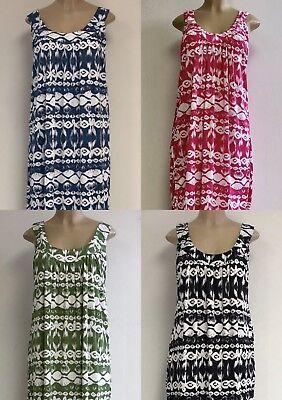 Womens Resort Wear Sleeve Less Cotton Spandex Printed Long Dress 1X 2X 3X Nwt