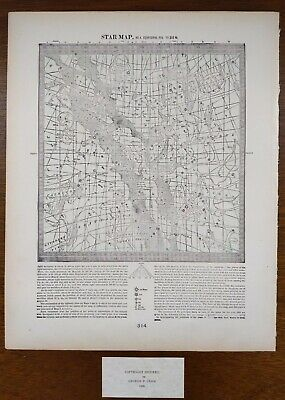 Vintage 1900 STAR MAP #4 ~ Old Antique Original ASTROLOGICAL CONSTELLATIONS