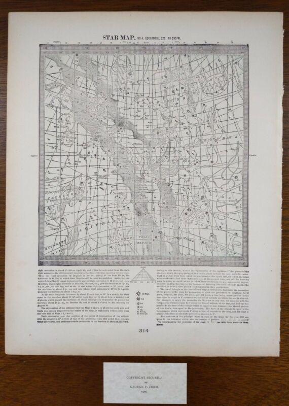 Vintage 1900 STAR MAP #4 ~ Old Antique Original ASTROLOGICAL CONSTELLATIONS