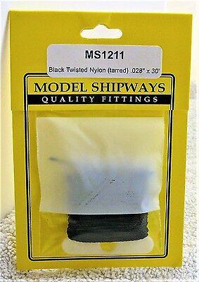 "Model Shipways Fittings MS 1211 Black Twisted Nylon Rigging. .028"" X 30'. 10 YDS"