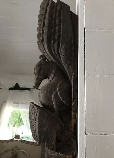 Pair of Antique Hand Carved Timber Bird Wall Sconces from India