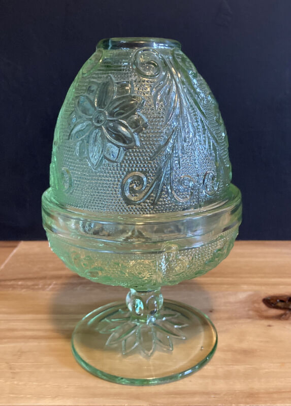Vintage Indiana Glass Fairy Lamp Tiara Chantilly Green - Tealight Candle Lamp