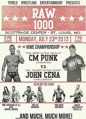 RAW IS WAR 1000 2012 John Cena CM Punk  Retro Wrestling Poster A4 8x11 WWF