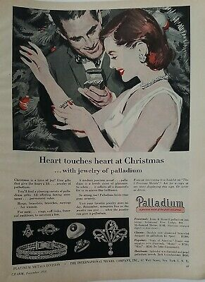 1956 Palladium Diamond Jewelry redhead heart at Christmas vintage ad