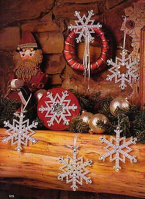 JEWELED SNOWFLAKES CHRISTMAS ORNAMENTS PLASTIC CANVAS PATTERN INSTRUCTIONS