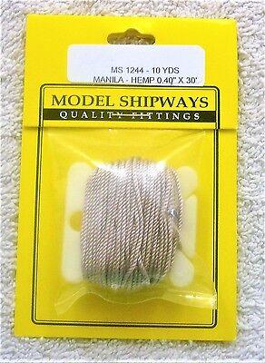 "Model Shipways Fittings MS 1244 Manila-Hemp Rigging .040"" X 30'. 10 YDS Per Pack"