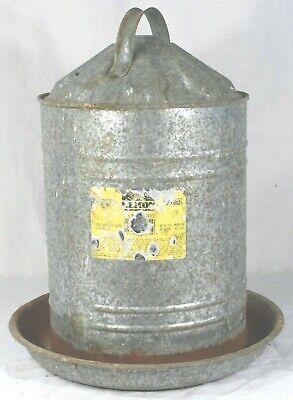 Vintage Beacon Galvanized Steel Chicken Waterer Feeder With Cover