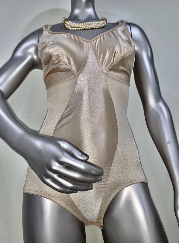 VTG Miraclesuit Sissy Teddy Bodysuit Chemise Snap Crotch High Cut Sz 38D