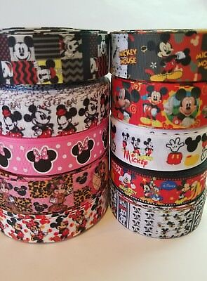 "10 Yards 7/8"" & 1"" Minnie & Mickey Mixed Lot Grosgrain Ribbon Hair Bow Supplies, used for sale  Perris"