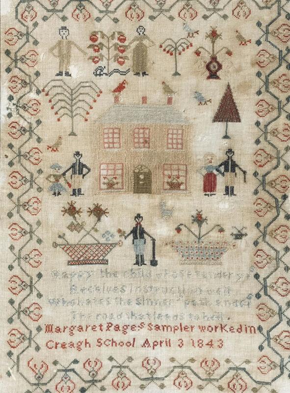 1843 Irish Schoolgirl Needlework Sampler Pink House Figures Birds Dog Trees Urns
