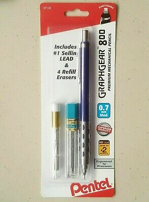 Pentel 27118 Graphgear 800 Mechanical Drafting Pencil 0.7 Extra Lead Erasers