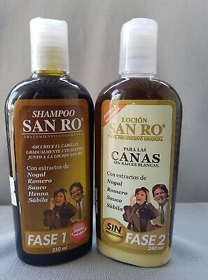 - SAN RO Gray Hair Shampoo & Hair Lotion Coloring Treatment~Herbal Extracts~240ml