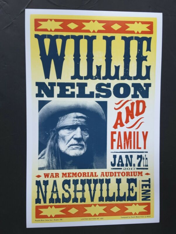 WILLIE NELSON HATCH SHOW PRINT #/100 Nashville WAR MEMORIAL Concert Poster 2017